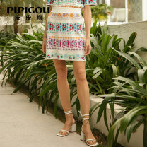 skirt Spring 2021 155/60A/S 160/64A/M 165/68A/L 100 white Short skirt commute High waist skirt Decor Type H 30-34 years old More than 95% knitting Poodle silk printing Retro Mulberry silk 100% Same model in shopping mall (sold online and offline)