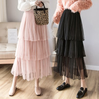 skirt Spring 2021 Average size Pink black white apricot longuette commute High waist Cake skirt Solid color Type A OYH2003LLLL More than 95% Tiphne / Europe, Italy and Korea other Gauze Korean version Other 100% Pure e-commerce (online only)