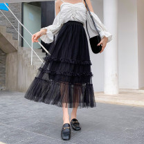 skirt Spring 2021 Average size Pink Black apricot Mid length dress Versatile High waist Cake skirt Solid color Type A OYH938 - AA More than 95% Tiphne / Europe, Italy and Korea other Gauze Other 100% Pure e-commerce (online only)