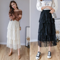 skirt Spring 2020 S M L Black apricot longuette commute High waist Cake skirt Solid color Type A OYH7102LT 91% (inclusive) - 95% (inclusive) Tiphne / Europe, Italy and Korea polyester fiber Mesh splicing Korean version Other polyester 95% 5% Pure e-commerce (online only)