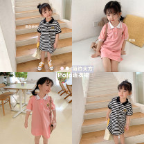 Dress Pink, stripes female Other / other 80, 90, 100, 110, 120, 130, 140, 150 Other 100% summer Korean version Short sleeve other other Class B 18 months, 2 years old, 3 years old, 4 years old, 5 years old, 6 years old, 7 years old