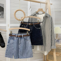 skirt Spring 2021 S,M,L,XL Light blue (for belt), blue gray (for belt) Short skirt commute High waist A-line skirt Solid color Type A 18-24 years old 51% (inclusive) - 70% (inclusive) Denim other Korean version