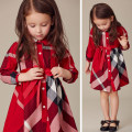 Dress Yellow, red, khaki, rose, pink, water red female Other / other Cotton 100% spring and autumn Europe and America Long sleeves lattice cotton Pleats Class B 18 months, 2 years, 3 years, 4 years