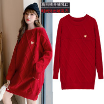 sweater Winter 2020 M,L,XL,2XL White, black, red Long sleeves Socket singleton  Medium length acrylic fibres 95% and above Crew neck thickening commute routine Solid color A-type Regular wool Keep warm and warm acrylic fibres cotton
