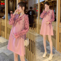 Dress Spring 2020 Pink M,L,XL,2XL Short skirt singleton  Long sleeves commute V-neck High waist Socket A-line skirt routine Others Type A Korean version 71% (inclusive) - 80% (inclusive) brocade cotton