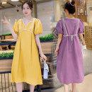 Dress Summer 2020 Yellow, purple M,L,XL,2XL Middle-skirt singleton  Short sleeve commute V-neck High waist Socket A-line skirt routine Others Type A Korean version 71% (inclusive) - 80% (inclusive) brocade other