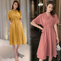 Dress Summer 2021 Pink, yellow M,L,XL,2XL Mid length dress singleton  Short sleeve commute V-neck High waist Solid color Socket A-line skirt routine Others Type A Korean version 71% (inclusive) - 80% (inclusive) brocade cotton