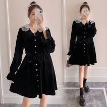 Dress Spring 2021 Black (regular), black (lactation) M,L,XL,2XL Short skirt singleton  Long sleeves commute V-neck High waist Solid color Single breasted A-line skirt routine Others Type A Korean version Button 71% (inclusive) - 80% (inclusive) brocade polyester fiber