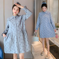 Dress Spring 2021 Blue (open button) M,L,XL,2XL longuette singleton  Long sleeves commute Polo collar Loose waist Dot Single breasted A-line skirt routine Others Type A Korean version Button 71% (inclusive) - 80% (inclusive) brocade cotton