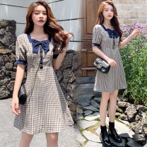 Dress Summer 2020 Picture color M,L,XL,2XL Short skirt singleton  Short sleeve commute square neck High waist lattice Socket A-line skirt routine Others Type A Korean version bow 71% (inclusive) - 80% (inclusive) brocade cotton