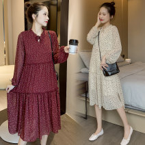 Dress Spring 2020 Red, apricot M,L,XL,2XL Middle-skirt singleton  Long sleeves commute Crew neck High waist Broken flowers Socket A-line skirt routine Others Type A Korean version 71% (inclusive) - 80% (inclusive) Chiffon polyester fiber