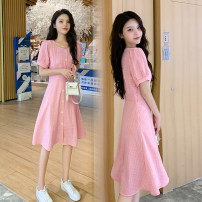 Dress Summer 2021 Pink M,L,XL,2XL Short skirt singleton  Short sleeve commute square neck High waist lattice Socket A-line skirt routine Others Type A Korean version 71% (inclusive) - 80% (inclusive) brocade cotton