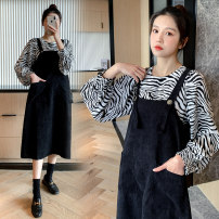 Dress Spring 2021 Picture color (2-piece set) M,L,XL,2XL Mid length dress Two piece set Long sleeves commute Doll Collar High waist houndstooth  Single breasted Ruffle Skirt other Others Type A Korean version Lotus leaf edge More than 95% other polyester fiber