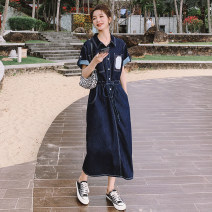 Dress Summer 2021 Blue, dark blue S,M,L,XL longuette singleton  Short sleeve commute Polo collar High waist Solid color Socket A-line skirt routine Others Type H Other / other Korean version Button Q870 31% (inclusive) - 50% (inclusive) other cotton
