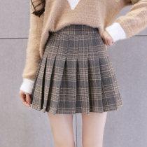 skirt Winter of 2018 S M L XL Blue apricot Short skirt commute High waist A-line skirt lattice Type A 18-24 years old fold Korean version