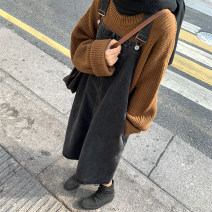 Dress Autumn of 2019 dark grey Average size Mid length dress singleton  Sleeveless commute other Loose waist Solid color Socket other other straps 18-24 years old Type H Simplicity pocket More than 95% cotton