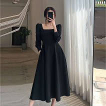 Dress Spring 2021 black S,M,L,XL,2XL longuette singleton  Long sleeves commute square neck High waist Solid color Socket A-line skirt puff sleeve 25-29 years old Type A Korean version Splicing 31% (inclusive) - 50% (inclusive) polyester fiber