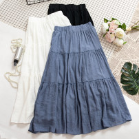 skirt Summer of 2019 Average size White, black, blue Mid length dress Versatile High waist A-line skirt Solid color Type A 18-24 years old 31% (inclusive) - 50% (inclusive)