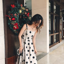 Dress Spring 2021 Off white S,M,L Mid length dress singleton  Sleeveless commute One word collar High waist Solid color Socket Big swing routine camisole 25-29 years old Type A Immortal dust Retro More than 95% other cotton