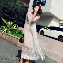 Dress Spring 2021 Off white S,M,L longuette Two piece set Long sleeves commute V-neck High waist Solid color Socket Big swing pagoda sleeve Others 25-29 years old Type A Immortal dust Retro Embroidery , Splicing , Three dimensional decoration , Gauze , zipper , Lace , 3D More than 95% Lace other