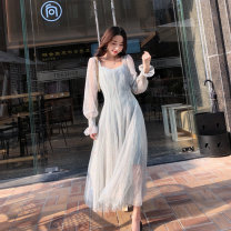 Dress Spring 2020 Green, green, sleeveless S,M,L Mid length dress Two piece set Long sleeves commute V-neck High waist Solid color Socket Big swing pagoda sleeve Others 25-29 years old Type A lady Sequin, mesh, zipper, lace, 3D 91% (inclusive) - 95% (inclusive) Lace Cellulose acetate