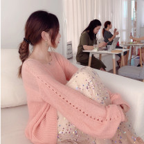 Dress Autumn 2020 Pink S,M,L Mid length dress Two piece set Long sleeves commute V-neck middle-waisted Solid color Socket Big swing bishop sleeve Others 25-29 years old Type H Immortal dust Retro Embroidery, Sequin, mesh, lace, 3D More than 95% knitting other