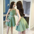 Dress Summer 2021 Green, black S,M,L,XL Short skirt singleton  Sleeveless street other High waist Solid color zipper Big swing camisole 18-24 years old Type A Other / other backless Europe and America