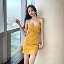 Dress Summer 2021 Red, yellow, black S,M,L Short skirt singleton  Sleeveless commute V-neck High waist One pace skirt camisole Korean version Panel, button, zipper JZ071807