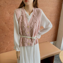 Dress Autumn 2020 Pink two piece set + belt Beige two piece set + belt blue two piece set + belt Average size Mid length dress Two piece set Long sleeves commute Crew neck High waist Solid color Single breasted Pleated skirt routine 18-24 years old Type A Gooseby Korean version Button 9226_ AdVLf