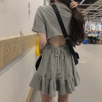 Dress Summer 2020 Grey black Average size Short skirt singleton  Short sleeve commute Crew neck High waist Solid color Socket Princess Dress routine 18-24 years old Type A Gooseby Korean version backless 8815_ cA3kG 81% (inclusive) - 90% (inclusive) cotton Cotton 81.4% others 18.6%