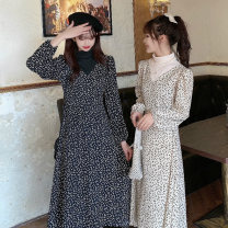 Dress Spring 2021 Black apricot M L XL Mid length dress singleton  Long sleeves commute Half high collar High waist Broken flowers Socket A-line skirt routine Others 18-24 years old Type A Gooseby Korean version printing FFDra 71% (inclusive) - 80% (inclusive) Chiffon cotton Cotton 73.3% other 26.7%