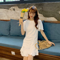 Dress Summer 2020 white S M Middle-skirt singleton  Short sleeve commute other High waist Solid color Single breasted Pleated skirt routine Breast wrapping 18-24 years old Gooseby Korean version 81% (inclusive) - 90% (inclusive) Chiffon polyester fiber Polyester 82.7% others 17.3%