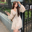 Dress Summer 2021 Dress waist cover S M L Mid length dress singleton  Long sleeves Sweet V-neck High waist Broken flowers Socket A-line skirt routine 18-24 years old Type A Gooseby printing 3593# 81% (inclusive) - 90% (inclusive) Chiffon polyester fiber Polyester 87.9% other 12.1% Mori