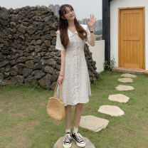 Dress Summer 2021 White black S M L Mid length dress singleton  Short sleeve Sweet Doll Collar High waist Dot Socket A-line skirt routine Others 18-24 years old Type A Gooseby printing 8542(1)# 81% (inclusive) - 90% (inclusive) Chiffon polyester fiber Polyester 87.9% other 12.1% solar system