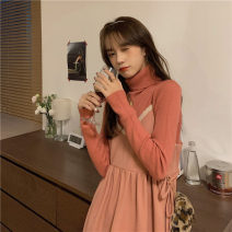 Dress Winter 2020 Average size Mid length dress Two piece set Sleeveless commute V-neck High waist Solid color Socket A-line skirt routine camisole 18-24 years old Type A Gooseby Korean version Splicing 81% (inclusive) - 90% (inclusive) knitting cotton Cotton 89.7% others 10.3%