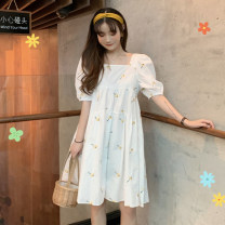 Dress Summer 2021 white S M L longuette singleton  Short sleeve commute square neck High waist Decor Socket A-line skirt routine 18-24 years old Type A Gooseby Korean version printing 81% (inclusive) - 90% (inclusive) Chiffon polyester fiber Polyester 87.9% other 12.1% Pure e-commerce (online only)