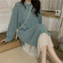 Dress Autumn 2020 Lake blue mesh dress Average size Mid length dress singleton  Long sleeves commute Crew neck Loose waist Solid color Socket Pleated skirt routine 18-24 years old Type A Gooseby Korean version Splicing 0989-2#_ z6RMf 30% and below other Cotton 18.6% others 81.4%