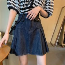 skirt Spring 2021 S M L Picture color Short skirt commute High waist A-line skirt Solid color Type A 18-24 years old 81% (inclusive) - 90% (inclusive) Denim Gooseby cotton zipper Cotton 89.7% others 10.3% Pure e-commerce (online only)