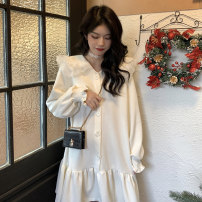 Dress Winter 2020 White black Average size Middle-skirt singleton  Long sleeves commute Doll Collar Loose waist Solid color Socket A-line skirt Flying sleeve Others 18-24 years old Type A Gooseby Korean version Button X1Yos 71% (inclusive) - 80% (inclusive) brocade cotton Cotton 73.5% other 26.5%
