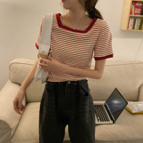 T-shirt Red Stripe Black Stripe Average size Spring 2021 Short sleeve square neck Self cultivation Regular routine commute cotton 86% (inclusive) -95% (inclusive) 18-24 years old youth Thin horizontal stripe Gooseby Cotton 89.7% others 10.3% Pure e-commerce (online only)