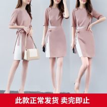Dress Summer of 2019 Pink S M L XL 2XL Middle-skirt Fake two pieces Short sleeve commute Crew neck middle-waisted Solid color other A-line skirt other Others 25-29 years old Type H Nicanila Korean version Lace up stitching More than 95% other polyester fiber Polyester 100%