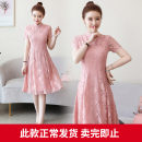 Dress Summer of 2019 Black red pink apricot M L XL 2XL 3XL 4XL Mid length dress singleton  Short sleeve commute stand collar High waist Solid color Socket A-line skirt routine Others 25-29 years old Type A Nicanila ethnic style NKNL19B9508& More than 95% Lace polyester fiber Polyester 100%