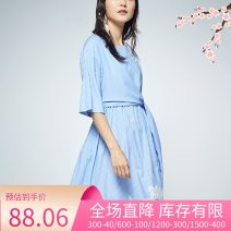 Dress Summer of 2018 blue 34XS 36S 38M 40L 42XL Middle-skirt singleton  Short sleeve commute Crew neck middle-waisted Solid color Socket A-line skirt routine Others 25-29 years old Etam / egger Simplicity Frenulum 8E012204664 71% (inclusive) - 80% (inclusive) other other Pure e-commerce (online only)