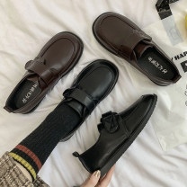 Low top shoes 35 36 37 38 39 Fanaishi Brown Black Round head PU Flat heel Low heel (1-3cm) Deep mouth PU Spring 2021 Velcro Korean version Adhesive shoes Youth (18-40 years old) Solid color rubber Single shoes waterproof leisure time Pure e-commerce (online only)