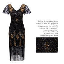 Dress / evening wear Wedding, adulthood, party, company annual meeting, performance, routine, appointment XXL,XXXL,S,M,L,XL black Retro Medium length middle-waisted Spring 2021 Self cultivation polyester 26-35 years old XX004 Short sleeve Nail bead Abstract pattern routine Sequins