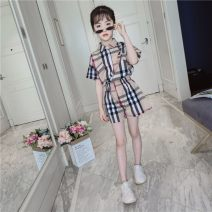 suit Four, five, six, seven, eight, nine, ten, eleven, twelve Other / other summer female Short sleeve + pants Korean version 2 pieces Thin cotton lattice Single breasted There are models in the real shot nothing Class B TXMM Cotton 80% others 20% children Expression of love Chinese Mainland khaki