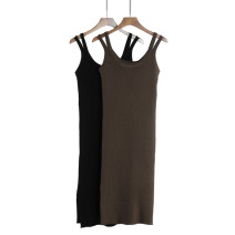 Dress Autumn 2020 Black, brown, red M,L,XL Mid length dress singleton  Sleeveless commute Crew neck middle-waisted Solid color Socket One pace skirt routine camisole 25-29 years old Type H Korean version 51% (inclusive) - 70% (inclusive) knitting Cellulose acetate