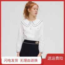 shirt Black edged shirt in early April S,M,L Spring 2021 cotton 51% (inclusive) - 70% (inclusive) Long sleeves Sweet Regular Lotus leaf collar Single row multi button routine Solid color Straight cylinder Cool 212307B college polyester cotton