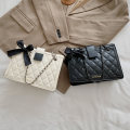Bag The single shoulder bag PU Small square bag Meimeier brand new Japan and South Korea in leisure time soft zipper no Solid color Single root One shoulder cross nothing youth Horizontal square bow Chain handle synthetic leather PU leather