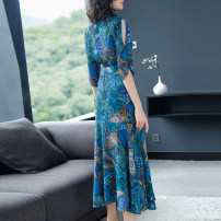 Dress Summer of 2018 Picture color S,M,L,XL,2XL Mid length dress singleton  elbow sleeve street V-neck High waist Decor Socket A-line skirt routine Others Type X Independent brand Panel, zipper DLQLSS1007 More than 95% Chiffon Europe and America